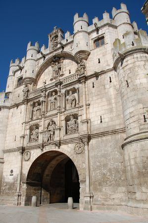 One of the fortificated doors in the medieval city of Burgos, Spain.