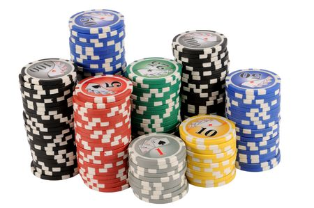 Pile of poker chips isolated on white.