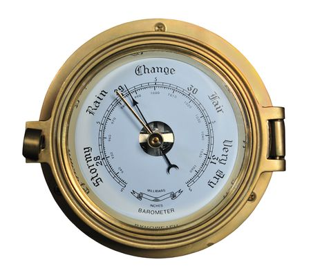 Barometer showing rainy weather isolated on white background. Stock Photo