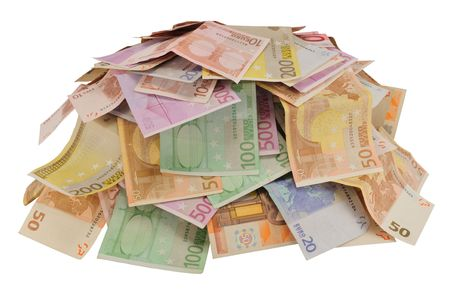 heaped: Lot of money (EURO) heaped, isolated on white.