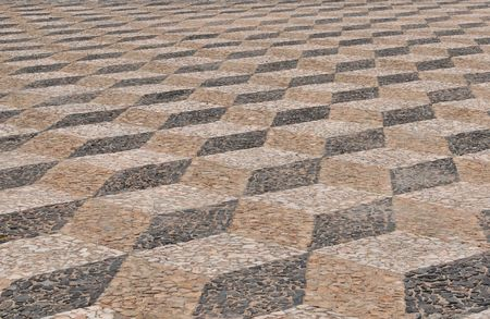 Abstract view of (three types) brick sidewalk at a portugal square. Stock Photo - 3325930