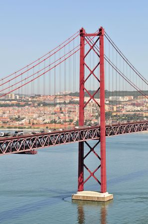 25th April Bridge over Tagus River in Lisbon (Portugal). Stock Photo