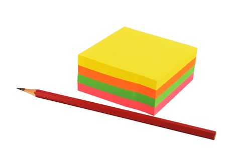 colorized: Pad of colored sticky notes with pencil, isolated on white.