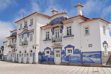 Old train station at Aveiro downtown, (Portugal). Stock Photo