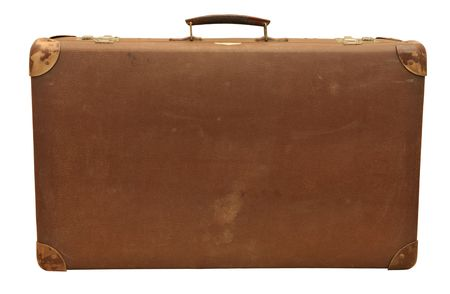Old wooden suitcase, isolated on white .