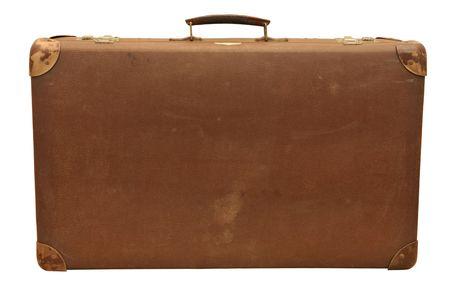 suitcases: Oude houten koffer, geïsoleerd op wit.