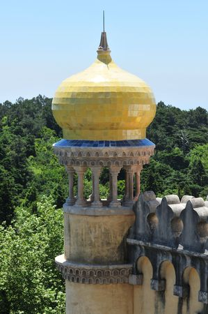 Yellow arabic styled tower in Palace of Pena, Sintra. Stock Photo - 3706635