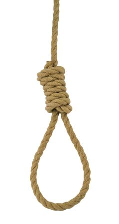 capital punishment: Hanging noose of rope isolated on white. Stock Photo