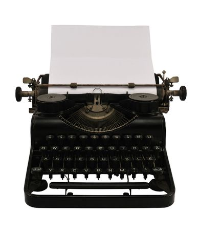 Old black typewriter with blank paper, isolated on white.