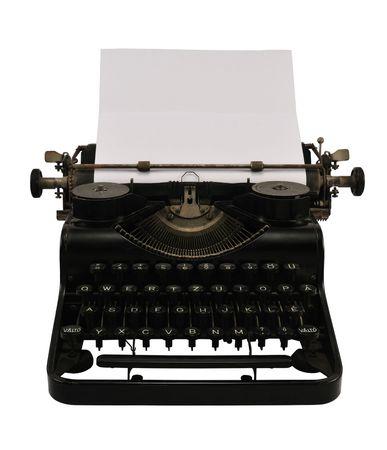 the typewriter: Viejo negro m�quina de escribir con papel en blanco, aislados en blanco. Foto de archivo