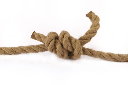 diameters: Detail of double fisherman or grapevine knot on natural rope.Often used in rock climbing to tie two ropes of equal or different diameters together.
