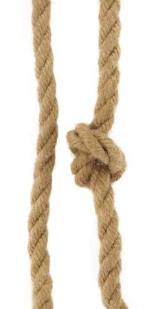Two natural rope, one with knot on white background. Stock Photo