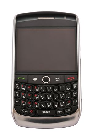 Mobile phone with keyboard and big screen, isolated on white.