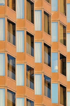 Lot of closed windows abstract with curtains. Stock Photo - 4719604
