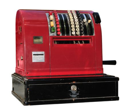 Old red cash register isolated on white. Stock Photo