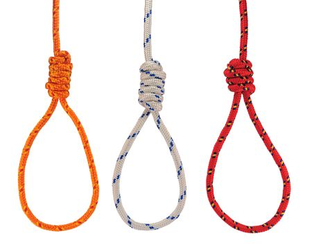 triplex: Three colorful hanging noose of rope isolated on white. Stock Photo