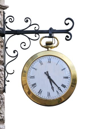 Outdoor analog clock with roman numbers, isolated on white.
