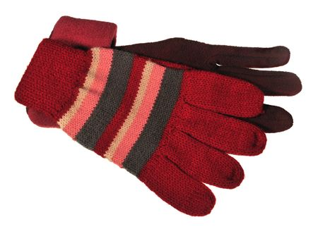 womanlike: Two different womanlike gloves isolated on white.