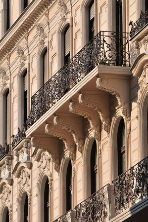 Architectural details of balcony on old building at Budapest (Hungary). Stock Photo - 5831715