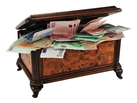 marquetry: Old wooden treasure chest (or jewelry box) with different Euro, isolated on white. Stock Photo
