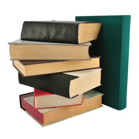 bibliography: Stack of different books isolated on white.