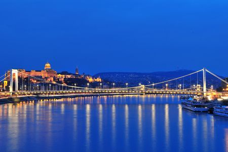 Royal Palace and Elizabeth bridge from Danube river at night - Budapest (Hungary) Photo taken at blue hour: March 17th, 2010 Stock Photo - 6637323