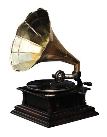 Antique gramophone from USA, isolated on white background.