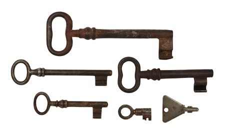 Six old rusty door key (different size), isolated on white. Stock Photo - 6684426
