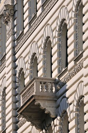 Architectural details of balcony of old building in Budapest (Hungary). Stock Photo - 7056576