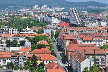 Aerial view on a city roofs, Ljubljana, Slovenia Stock Photo
