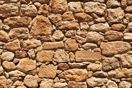Detail of a stone wall with different size of rock. photo