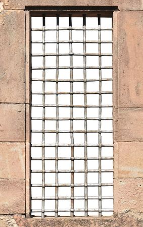 Window and massive bars isolated (inside) on white. photo