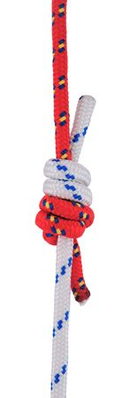 englishman: Double fishermans (also known as Grapevine or Double englishmans) knot isolated on white. This is one of the strongest knots for joining.