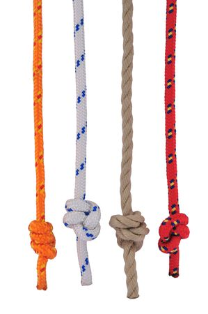 Four different rope with stopper knot (Stevedores knot), isolated on white. Stock Photo