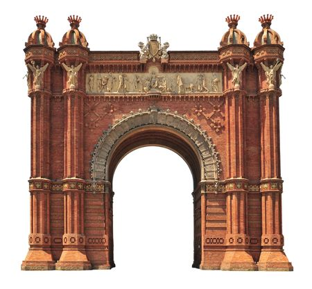 arches: Triumphal arch in Barcelona (Spain) isolated on white.