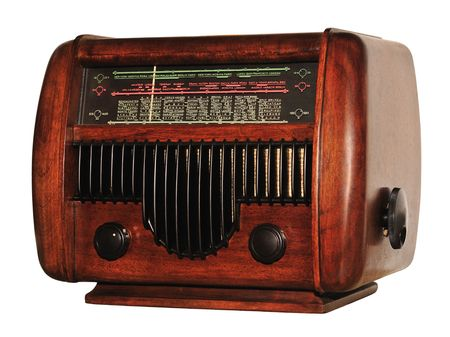 Old wooden radio (used at home), isolated on white.