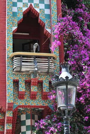 Balcony detail from Casa Vicens at Barcelona (Spain).  Stock Photo