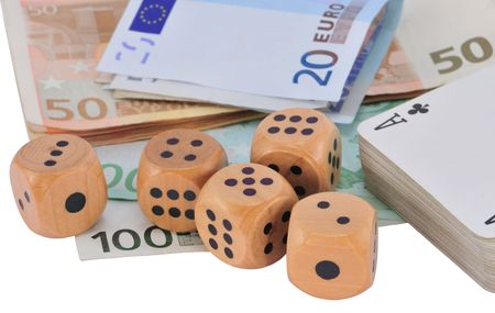 Five wooden dice, deck of cards and Euro bank notes, isolated on white. Stock Photo - 7976893