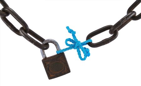 corrode: Bad security concept, with old metal chain, padlock and blue rope, isolated on white.