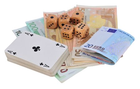 Five wooden dice, deck of cards and Euro bank notes, isolated on white. Stock Photo - 8152480