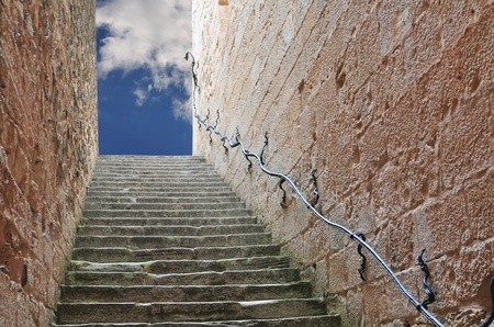 Stairway leading up to the sky. Could represent a career, success, a journey, or going to heaven. Stock Photo - 8420051