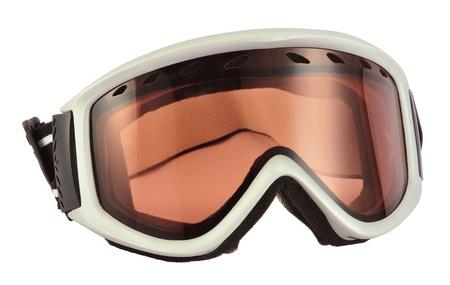 holidaying: Gray ski goggles isolated on white background. Stock Photo