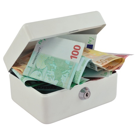 Open money box with a lot of Euro, isolated on white. photo