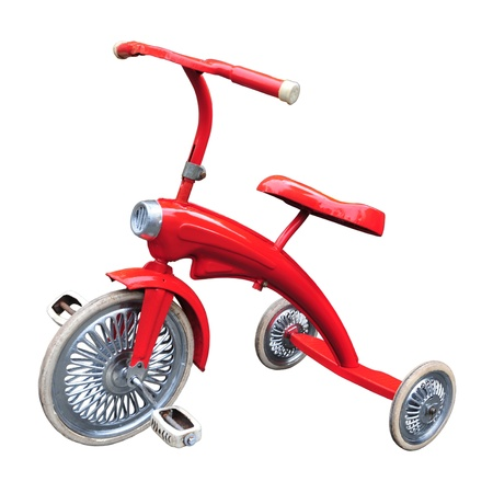 Red toy tricycle isolated on white background.