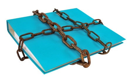 Blue file folder protected with chain, isolated on white. Stock Photo
