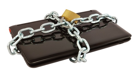 Strong security lock and chain on netbook, isolated on white. (Protect your personal data)