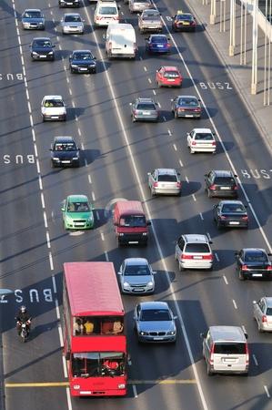 Heavy traffic on main road over Elizabeth bridge in Budapest. Stock Photo