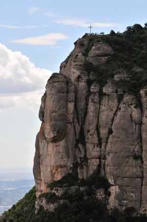 rood: Montserrat mountain with rood in Catalonia Spain.