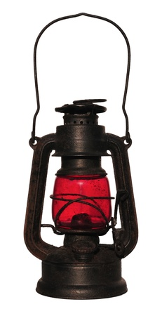 Old black lantern with red glass,  isolated on white. photo