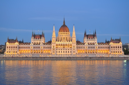 lighting system: Hungarian house of parliament in Budapest by night with new lighting system.